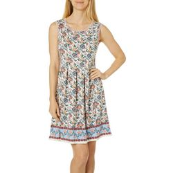 Max Studio Womens Whimsical Floral Border Print Dress