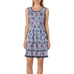 Max Studio Womens Floral Border Print Dress