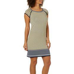 Max Studio Womens Geometric Border Print Shift Dress