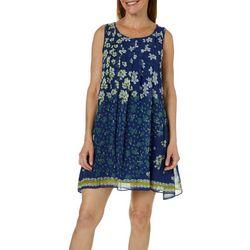 Max Studio Womens Pleated Floral Border Print Dress