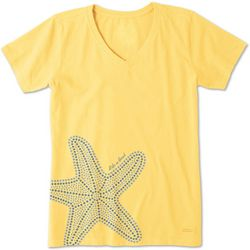 Life Is Good Womens Mosaic Starfish Crusher V-Neck T-Shirt