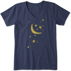 Life Is Good Womens Moon And Stars Crusher T-Shirt