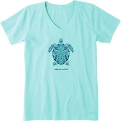Life Is Good Womens Turtle Mosaic Crusher V-Neck T-Shirt