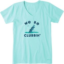 Life Is Good Womens We Be Clubbin Crusher V-Neck T-Shirt