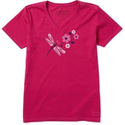 Life Is Good Womens Dragonflowers Crusher T-Shirt