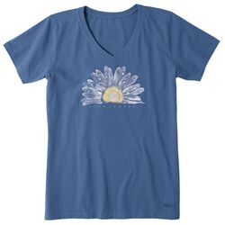 Life Is Good Womens Watercolor Daisy V-Neck T-Shirt