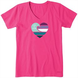 Life Is Good Womens Wave Heart Crusher V-Neck T-Shirt
