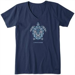 Life Is Good Womens Beautiful Turtle Crusher V-Neck T-Shirt