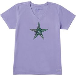 Life Is Good Womens Primal Starfish Crusher V-Neck T-Shirt