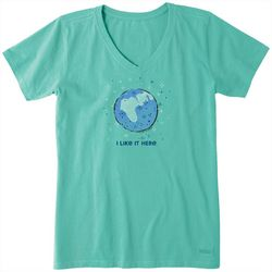 Life Is Good Womens Like It Here Crusher V-Neck T-Shirt