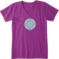 Life Is Good Womens Sun Compass Crusher V-Neck T-Shirt