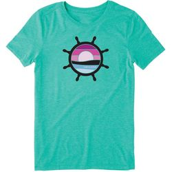 Life Is Good Womens Sunset Wheel Cool T-Shirt