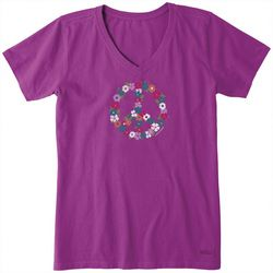 Life Is Good Peace Flower V-Neck Crusher T-Shirt
