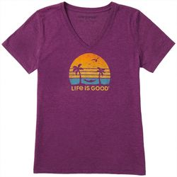 Life Is Good Womens Retro Hammock V-Neck Cool T-Shirt