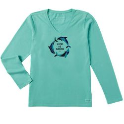 Life Is Good Womens Tri-Dolphin Crusher Long Sleeve T-Shirt