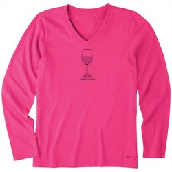 Life Is Good Womens Earthy Wine Long Sleeve V-Neck T-Shirt