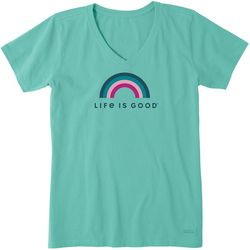 Life Is Good Womens Rainbow Crusher V-Neck T-Shirt
