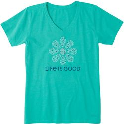 Life Is Good Womens Daisy Cross Stitch T-Shirt