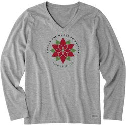 Life Is Good Womens Poinsettia Crusher Long Sleeve T-Shirt