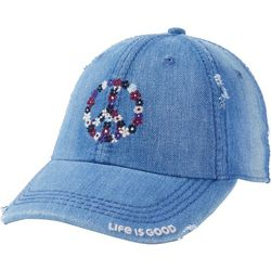 Life Is Good Womens Floral Peace Sunwashed Chill  Hat