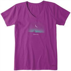 Life Is Good Womens Awesome Night Crusher V-Neck T-Shirt