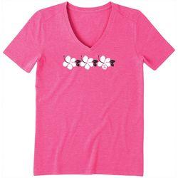 Life Is Good Womens Hibiscus Stripe Crusher V-Neck T-Shirt