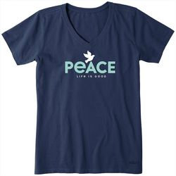 Life Is Good Womens Peace Dove Crusher V-Neck T-Shirt