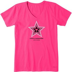 Life Is Good Womens Super Powers Star V-Neck T-Shirt