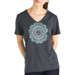 Life Is Good Womens Butterfly Mandala V-Neck T-Shirt