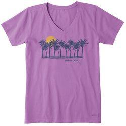 Life Is Good Womens Sunset V-Neck Crusher T-Shirt