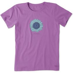 Life Is Good Womens Engraved Sunflower Crusher T-Shirt