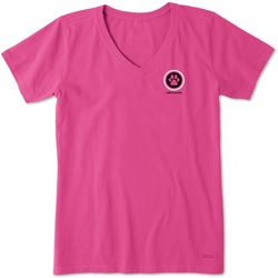 Life Is Good Womens Paw Print Coin Crusher V-Neck T-Shirt