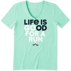 Life Is Good Womens Go For A Run Cool V-Neck T-Shirt