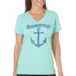 Life Is Good Womens Anchor Print Crusher T-Shirt