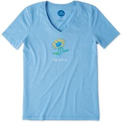 Life Is Good Womens Sunflower Cool V-Neck T-Shirt