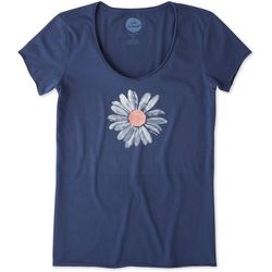 Life Is Good Womens Big Daisy Smooth T-Shirt