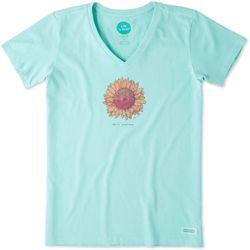 Life Is Good Womens Hello Sunshine Sunflower Crusher T-Shirt