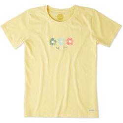 Life Is Good Womens Three Happy Daisies Crusher T-Shirt