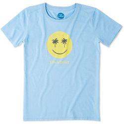 Life Is Good Womens Smile Palm Tree T-Shirt