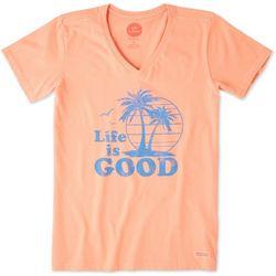 Life Is Good Womens Tropical Palm Crusher T-Shirt