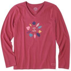 Life Is Good Womens Harvest Leaf Long Sleeve Crusher T-Shirt