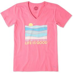 Life Is Good Womens Take Me To The Ocean Crusher T-Shirt