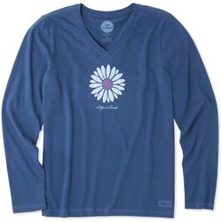 Life Is Good Womens Petal Daisy Long Sleeve Top