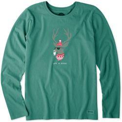 Life Is Good Womens Funky Reindeer Long Sleeve Top