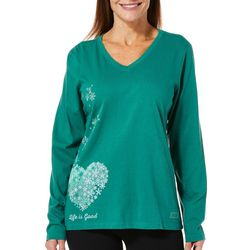 Life Is Good Womens Floating Hearts Long Sleeve Top
