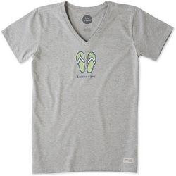 Life Is Good Womens Classic Flip Flop Pair Crusher T-Shirt