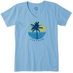 Life Is Good Womens Beach Sun & Waves Crusher T-Shirt
