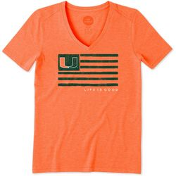 Miami Hurricanes Womens Flag T-Shirt By Life Is Good