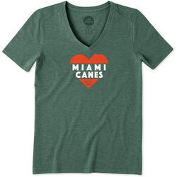 Miami Hurricanes Womens Heart T-Shirt By Life Is Good
