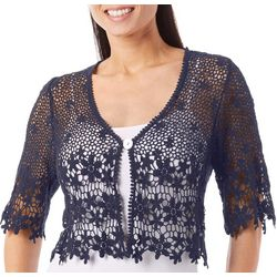 Rabbit Rabbit Womens Floral Crochet Shrug